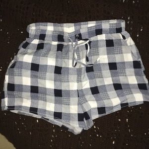 Navy Blue and White Plaid Shorts